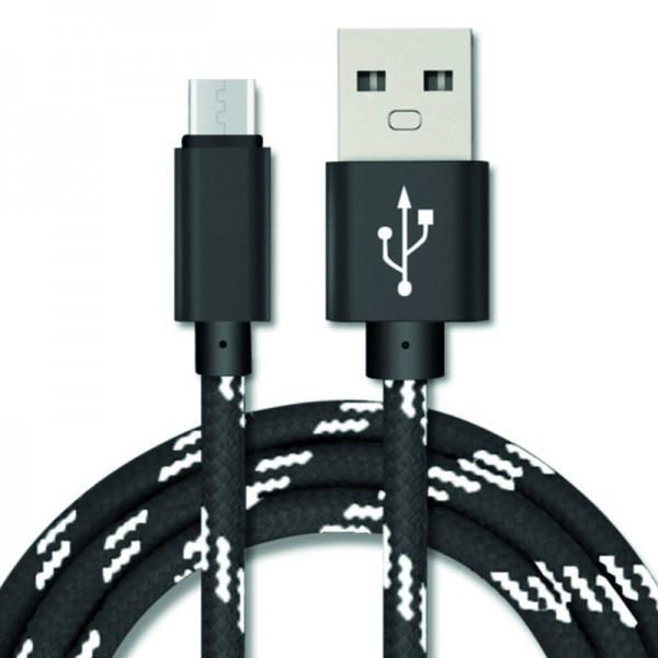 Mikro USB-B kabel 2m, melír textil černá