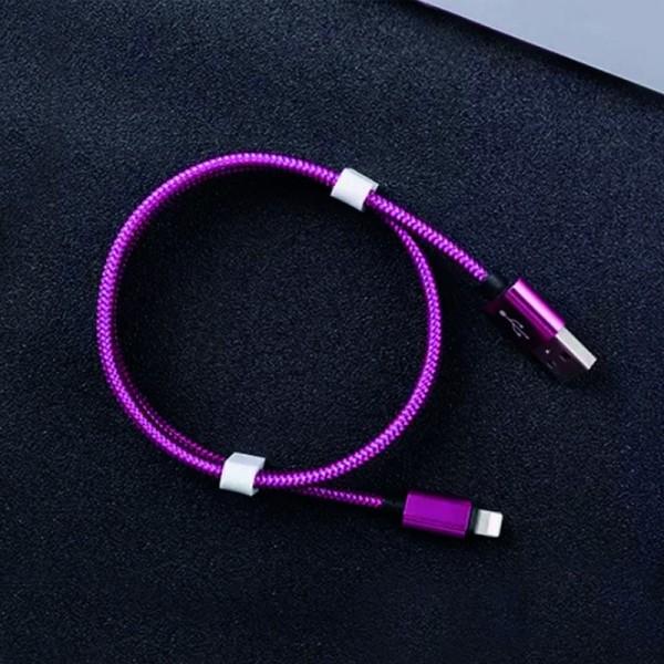Micro USB-C kabel 1m fialový textilní