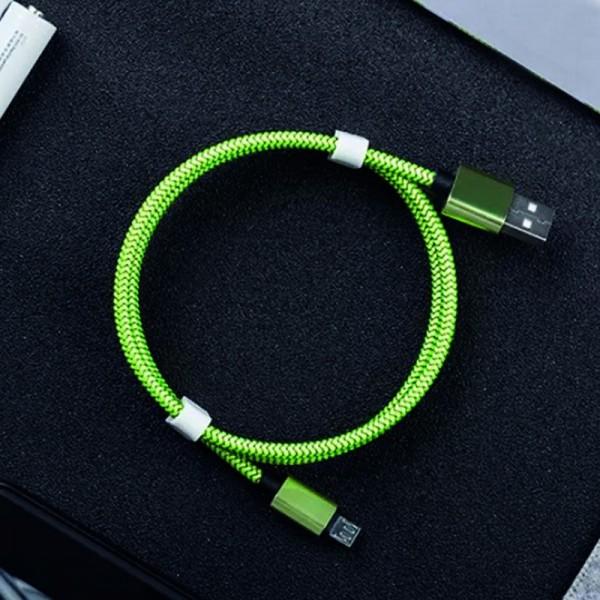 Mikro USB-C kabel 3m, textil zelená