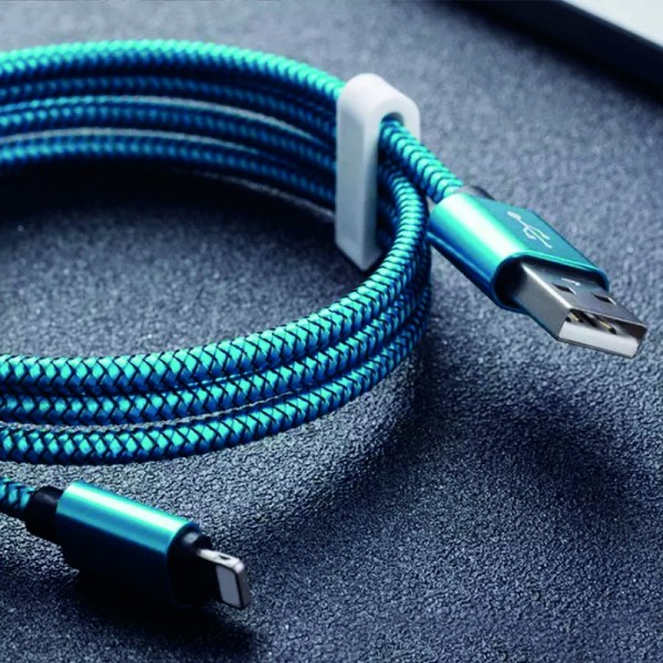 Mikro USB-C kabel 3m, textil modrá