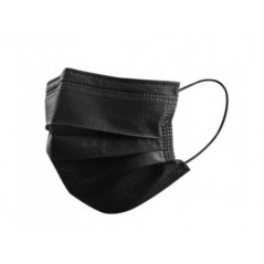 Maska - chirurgická rouška ústenka, 3 vrstvy, černá - 50 ks