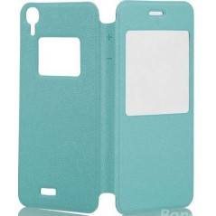 Pouzdro flip s okénkem pro telefon DooGee DG800, světle zelená (tyrkysová) koženka