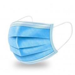 Maska - rouška ústenka s gumičkou, 3 vrstvy,modrá - 50 ks