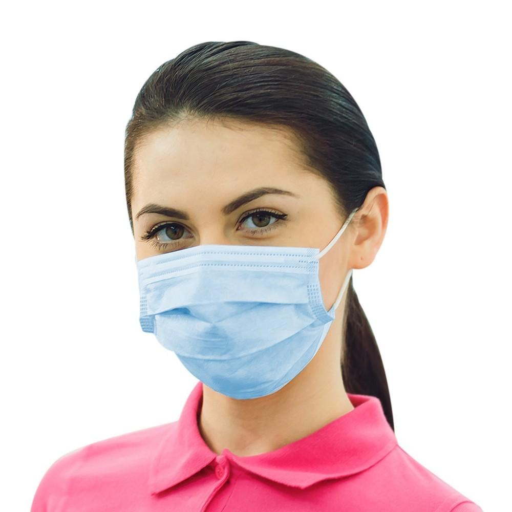Maska - rouška ústenka s gumičkou, 3 vrstvy,modrá - 100 ks