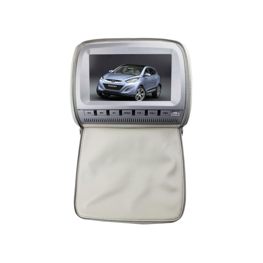 "Opěrka hlavy - 9"" LCD, DVD, DVB-T, Zip kryt, 640 x 234, ŠEDIVÁ"