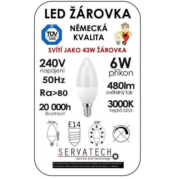 LED žárovka C30 6W 240V E14 480lm 270° 20.000h životnost