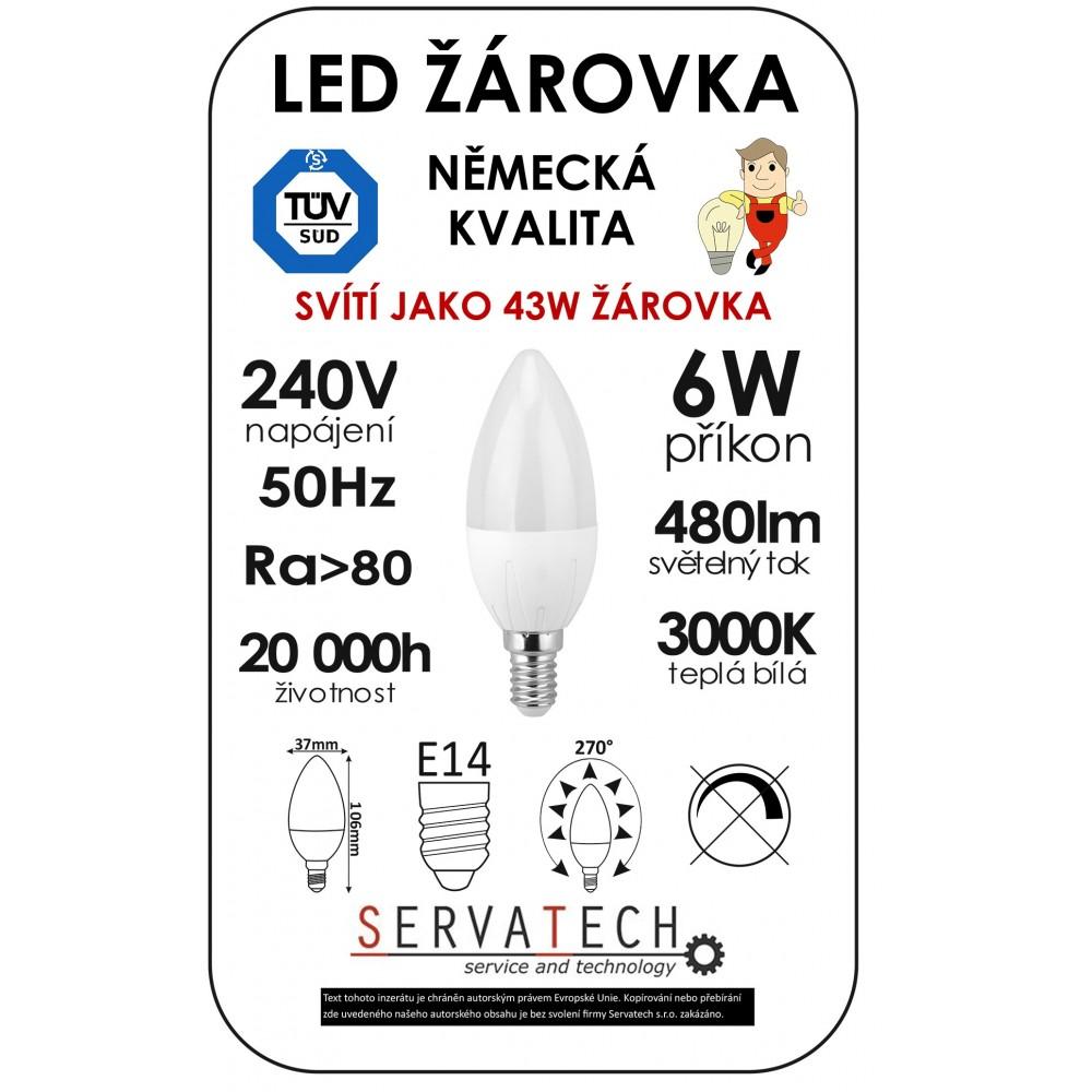 LED žárovka svíčka C30 6W / 43W 240V E14 480lm 270° 20.000h teplá
