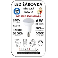LED žárovka R50 6W / 43W 240V E14 480lm 270° 20.000h teplá