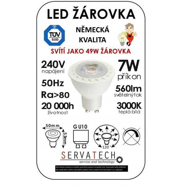 LED žárovka 7W 240V GU10 560lm 120° 20.000h životnost