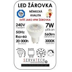 LED žárovka reflektor/bodovka 7W / 49W 240V GU10 560lm 120° 20.000h teplá