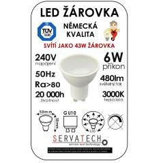 LED žárovka 6W / 43W 240V GU10 480lm 120° 20.000h teplá