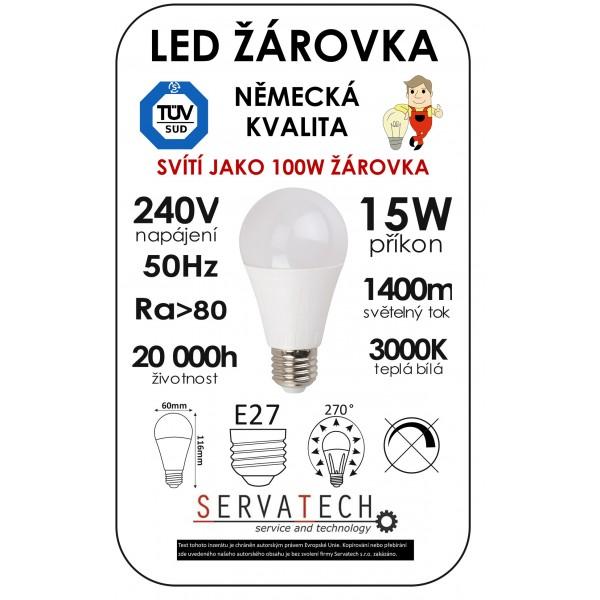 LED žárovka B60 15W 240V E27 1400lm 270° 20.000h životnost