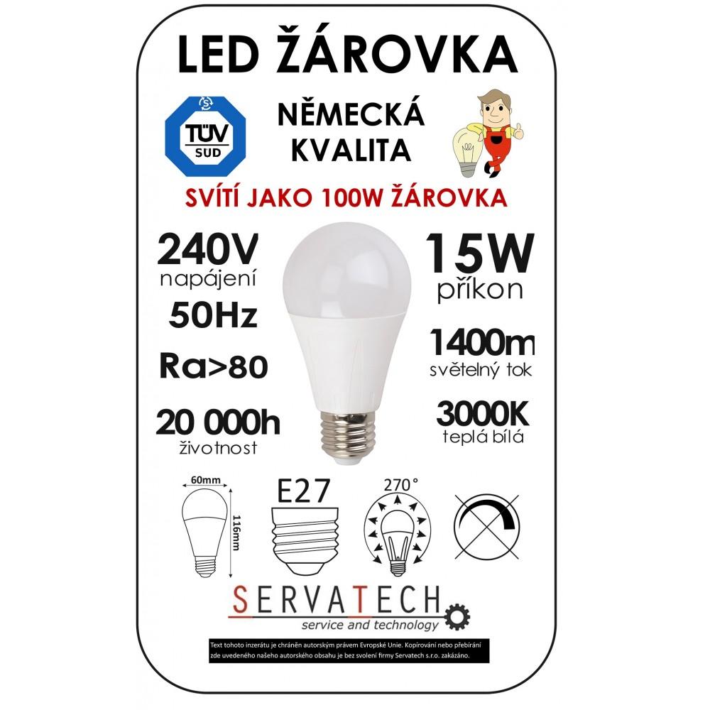 Symfony LED žárovka B60 15W / 100W 240V E27 1400lm 270° 20.000h teplá
