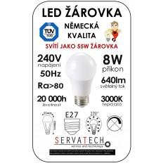 LED žárovka B55 8W 240V E27 640lm 270° 20.000h životnost