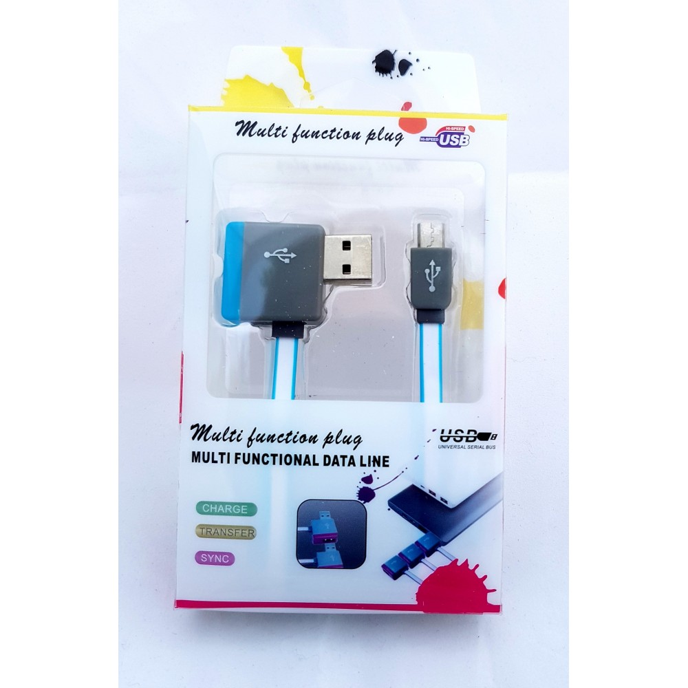 Multifunkční USB kabel z výstupem na další USB 1m modrý