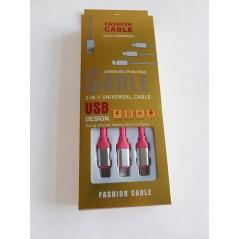 Multifunkční datový USB kabel 3v1 růžový