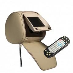 "Opěrka hlavy - 7"" LCD, DVD, Zip, 800 x 480, BÉŽOVÁ"