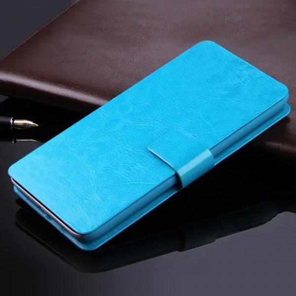 Kožené pouzdro flipové pro telefon Oukitel Mix 2, nebesky modré