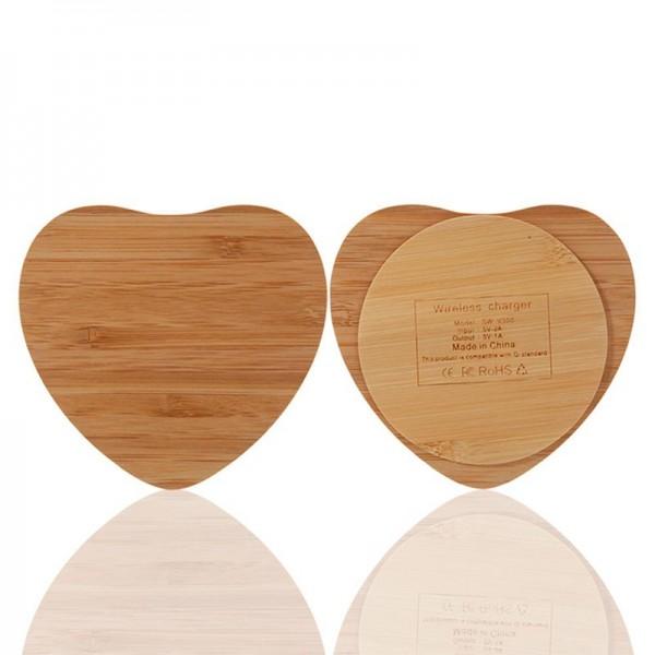 Bezdrátová nabíječka dřevěné srdce, přírodní